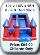 Blue and Red Bouncy Castle Slide  - Stockport