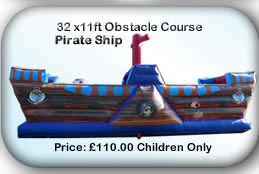 Bouncy Castle Hire Manchester - 32 x11ft Obstacle Course Pirate Ship