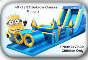 Bouncy Castle Hire Manchester - 40ft  Minions Obstacle Course