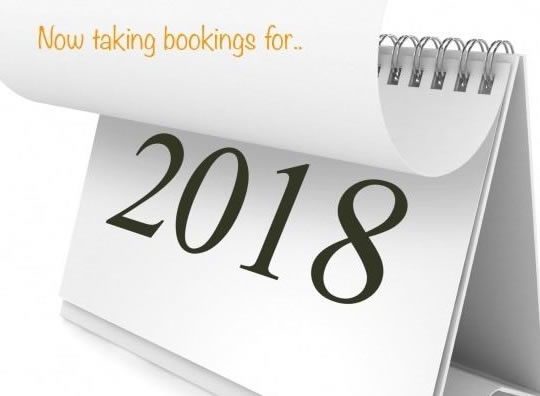 2018 Bookings Being Taken